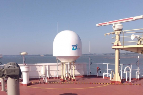 DITEL 150cm marine TVRO Antenna installed on asphalt ship going for Singapore--Malaysia--China  sailing line