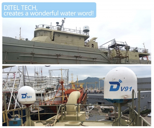 DITEL  S61 TV satellite antenna installed on fishing ship
