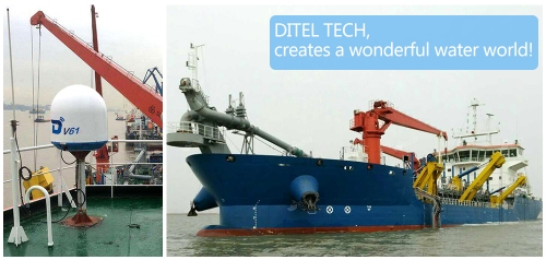 DITEL V61 marine satellite VSAT antenna installed on a Dredging vessel with 7000 cubic meter capacity