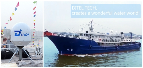 DITEL V101 VSAT Antenna installed on large fishing vessel