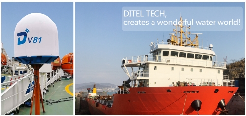 DITEL V81 maritime satellite VSAT installed on a large deck carrier