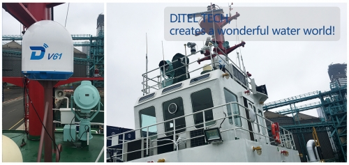 DITEL V61 maritime VSAT installed on a tug